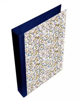 Ringordner DinA4 mit Bügelmechanik 5cm breit, Florentiner Papier Antique blau gold