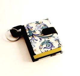 Mäppchen / Anhänger für Haftnotizen / Haftnotizzettel, Florentiner Papier Ornamente blau gold