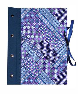 Fotoalbum Schraubalbum DinA4,offener Buchrücken  , Hochformat mit ,Japanpapier Chiyogami,Yuzen Papier Muster blau pink