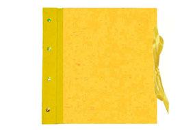 Fotoalbum Schraubalbum , offener Buchrücken, Buchleinen gelb, Efalinpapier goldgelb ohne Inhalt 35 cm x 35 cm , Sondermaß
