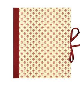 Ordner / Ringordner  DinA4  Florentiner Papier  Blumen Kronen dunkelrot gold, 3 cm breit