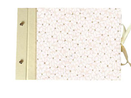 Schraubalbum Gästebuch, Din A4 Querformat,offener Buchrücken, Nepalpapier Blätterblüte weiß gold beige