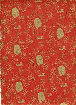Nepal - Papier / Lokta Papier, Rosen und Schmetterlinge lackrot gold