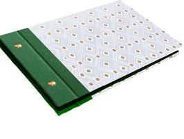 Schraubalbum Gästealbum, Din A5, ohne Inhalt, Carré d´Or , mit Golddruck, grün ,Querformat,  25 Blatt weiß, 160 g/m²  DinA5