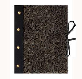 Fotoalbum Schraubalbum DinA4  , Hochformat mit offenem Buchrücken,Nepalpapier Krikelkrakel gold auf schwarz