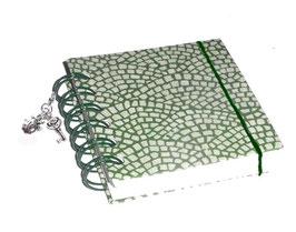 Notizbuch klein, mit grüner Ringbindung Wire-O Bindung,  Hölzer grün