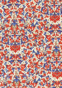 Florentiner / Italienisches Papier  50 x 70 cm rot blau gold Nr.07