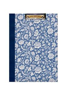 Klemmbrett Mappe DinA4 , Carta Varese Papier große Blumen blau