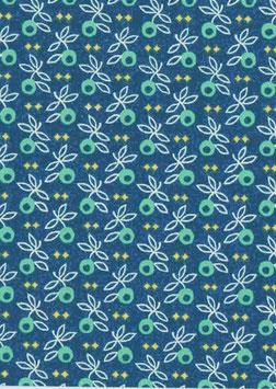Italienisches Papier Carta Varese / Buntpapier Mistelzweige blaugrün hellgrün