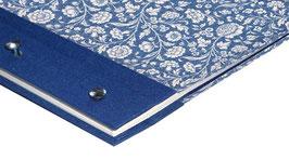 Fotoalbum Schraubalbum , DinA4  , Hochformat mit offenem Buchrücken, Carta Varese Papier große Blumen blau
