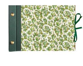 Schraubalbum Gästealbum,Querformat, Ornamente grün gold,dunkelgrün,geschlossener Buchrücken, ohne Inhalt,Albenhöhe 80 Blatt 250g Papier