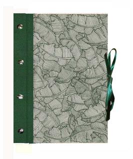 Schraubalbum / Gästebuch DinA4 Hochformat, geschlossener Buchrücken, Baumwoll Papier Paradise Natural green, mit 25 Blatt weißem DinA4 Druckerpapier 160g