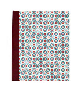 Ringordner Din A5, 3 cm breit, kleine Blumen rot blau, bordauxrot, zweifach Mechanik