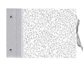 Schraubalbum Gästebuch,Nepal Papier Ranken silber weiß,silber, Querformat
