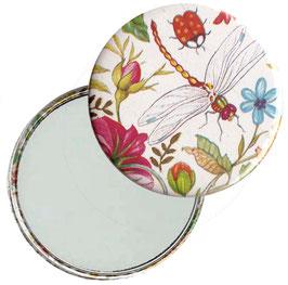 Taschenspiegel,Handspiegel, oder Flaschenöffner mit Magnet  ,Button, 59 mm Durchmesser,Rosenkomposition, Libelula