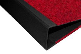 Ringordner 4 cm breit,mit Nepalpapier ,Striche schwarz auf rot