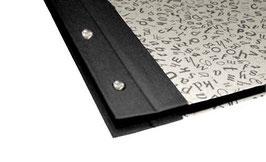 Fotoalbum Schraubalbum DinA4, Hochformat, Baumwollpapier tanzende Noten schwarz auf beige