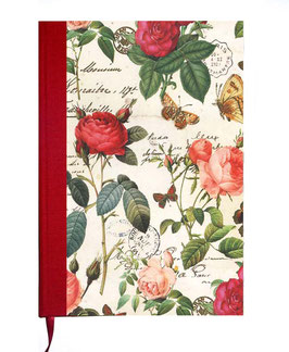 Kalender / Buchkalender / Tageskalender 2019 DinA5, Florentiner Papier, Rosenkomposition mit Golddruck