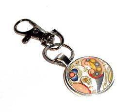 Anhänger Schlüsselanhänger Cabochon, Florentiner Papier kleine  Ornamente bunt gold 2