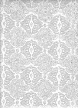 Nepal Papier / Lokta Papier Blumenbrokat natur silber
