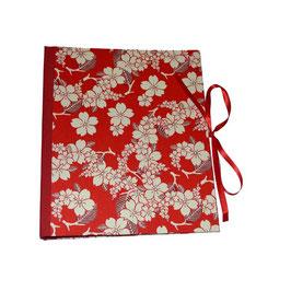 Ringbuchordner  DinA4  große weiße Blumen auf rot