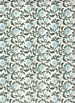 Florentiner / Italienisches Papier  50 x 70 cm, Blumen hellblau dunkelgrün