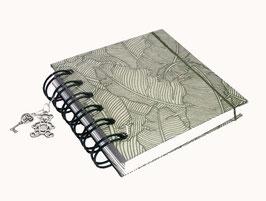 Notizbuch klein, mit grüner Ringbindung Wire-O Bindung, Baumwollpapier Paradise Natural green