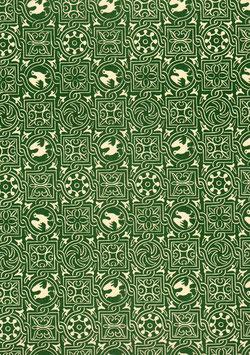 Leipziger Vorsatzpapier Ornamente Vögeln grün