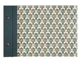 Schraubalbum Gästebuch, ohne Inhalt, türkis grün gold, Querformat