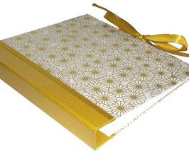 Ringordner Din A5, 3 cm breit, Ringordner DinA5,Blumenmeer gold, zweifach Mechanik, mit Satinbänder