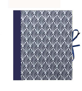 Ringbuchordner für DinA4 , 3 ,5 cm breit, Nepalpapier, Jugendstilfächer blau