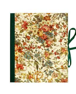 Ringordner 5 cm breit mit Hebelmechanik , Florentiner Papier elegante Blumen ,grün, mit Tippklemmer