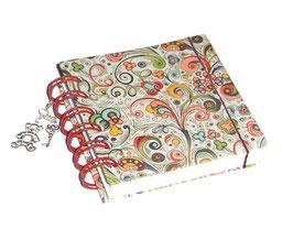 Notizbuch klein, mit roter Ringbindung Wire-O Bindung,  kleine Ornamente bunt gold