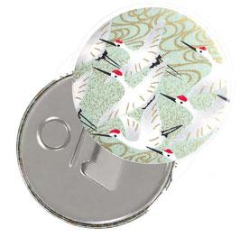 Flaschenöffner mit Magnet oder Taschenspiegel,Handspiegel  ,Button, 59 mm Durchmesser,Chiyogami Yuzen Papier,Kraniche hellgrün gold