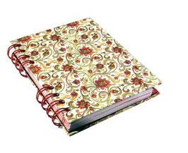Telefonbuch / Notizbuch Din A6, mit roter Ringbindung Wire-O Bindung, Register ABC rot, Florentiner Papier Blumenranken rot gelb grün