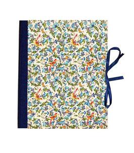 Ringordner 2cm breit, Florentiner Papier Ornamente Vögel blau grün gold