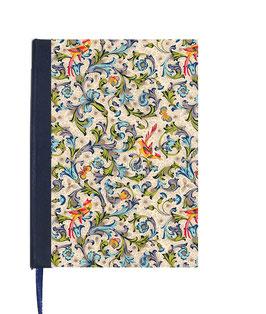 Kalender / Buchkalender / Tageskalender 2018 DinA5, Florentiner Papier, Vögel blau