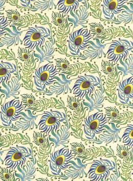 Florentiner / Italienisches Papier  50 x 70 cm Pfauenfeder  mit Golddruck, Peacock