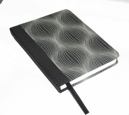 Kalender / Buchkalender / Taschenkalender 2019 DinA6, Baumwollpapier Zwiebelmuster schwarz grau