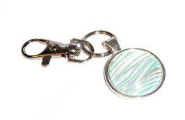 Anhänger Schlüsselanhänger Cabochon, Baumwoll Papier , aus Nordindien  Ozean blau silber beige  1