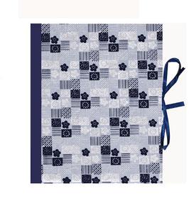 Ringbuchordner für DinA4 , 3 ,5 cm breit, Nepalpapier, Japanischer Mustermix hellblau dunkelblau