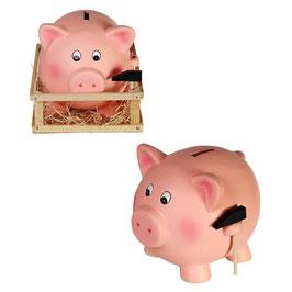 XXL Keramikschwein mit Hammer in einer Holzkiste