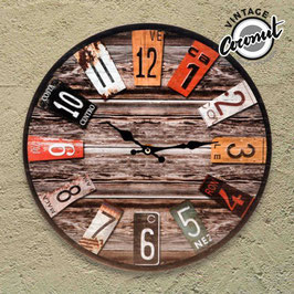 Vintage-Uhr aus Holz 33,5 cm Durchmesser