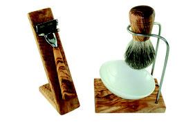 Rasierset DESIGN PLUS 5teilig aus Olivenholz mit Porzellanschale schräg Ø 10 cm M3