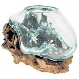 Glas 3 mundgeblasen auf Teakwurzelholz Durchmesser 15-20 cm