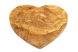 Frühstücksbrett Herzform 22 x 20 cm aus Olivenholz (1Stck)