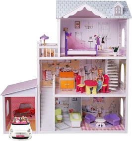 Gerardo's Toys Holzpuppenhaus mit Garage Charlene 123,5 cm 14-teilig
