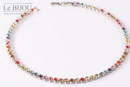 Rhodiniertes, hochwertiges Tennis-Armband in Multicolour