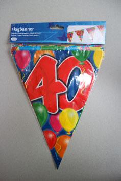 Vlaggenlijn leeftijd '40' 10 meter (beide kanten geprint)