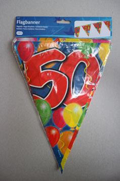 Vlaggenlijn leeftijd '50' 10 meter (beide kanten geprint)